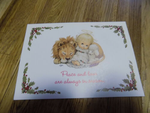 Vintage Angel Lion Lamb Children Ruth Morehead Postcard Holidays