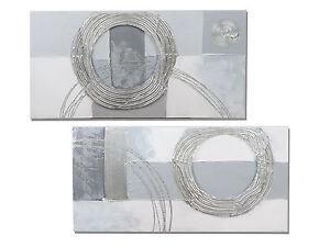Exklusives Designer Wandbild Kreise silber 30x60 cm (1 Stück)