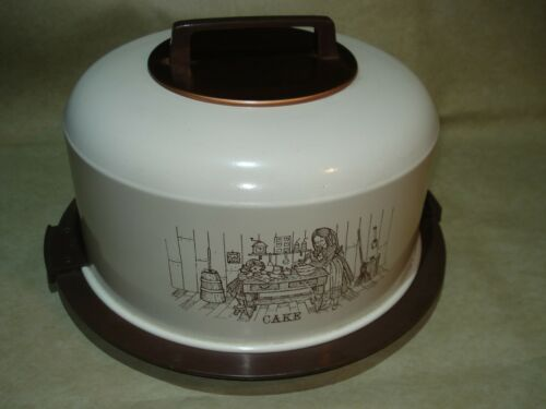 Vintage ATAPCO Aluminum Cover - Locking Base CAKE Carrier, Beige/Brown/Copper
