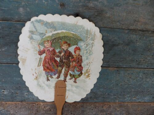 antique victorian cardboard hand fan child e.r. mccaas music store lancaster pa