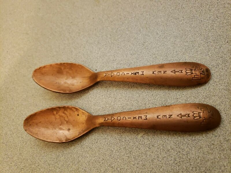 Native American Copper New Mexico Spoons With Phoenix Thunderbird On Handles
