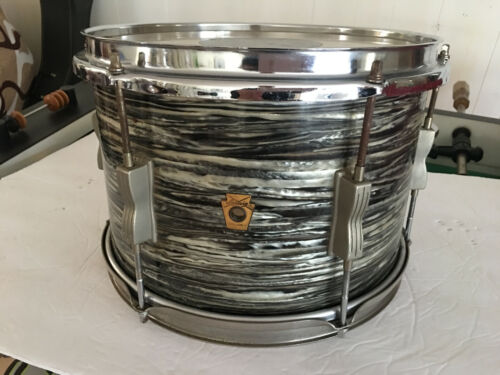 "1965 LUDWIG TOM 12"" X 8"" DEEP  BLACK OYSTER PEARL DRUM  RINGO REAL NICE!"