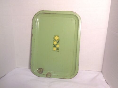 Vintage Green Metal Serving Trays with Flower Design Shabby Decor or Crafting