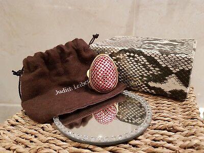Judith Leiber Crystal Pill Box Red White Gold Trinket Box Harrods Vintage Egg
