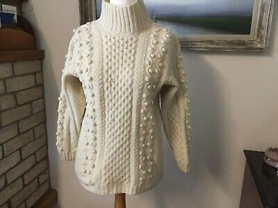 Vintage handmade cream chunky cable knit aran wool jumper rustic Chest 40