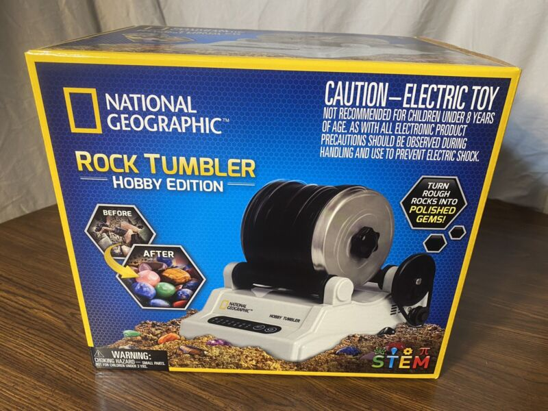 NATIONAL GEOGRAPHIC Rock Tumbler Kit Hobby Edition 9 Gemstones Learning Guide
