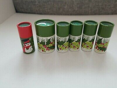 """Set of 6 Hallmark Christmas decorated containers each with 2"""" Wooden Matches"""