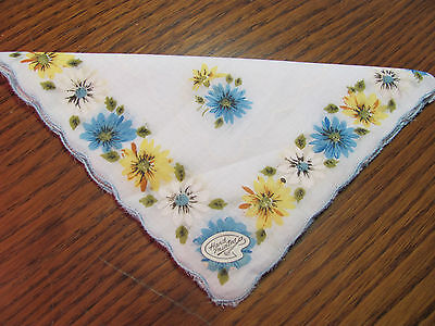 """Vintage Hand Painted Hankie Blue Yellow White Daisy Scalloped 13"""" Unused NWT"""