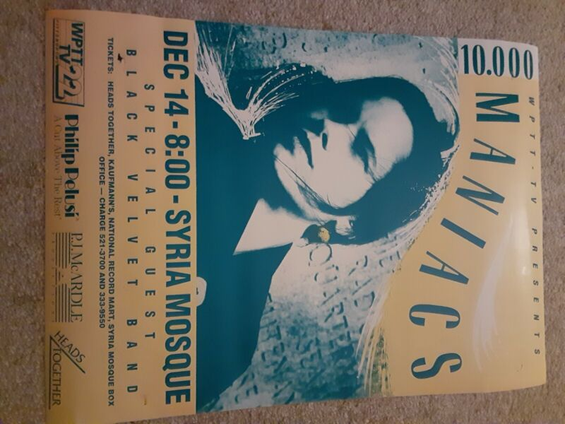 10,000 Maniacs 2 Concert Posters 1 Autographed Poster Fair Condition
