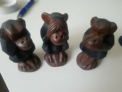 Three wise monkeys carved wood