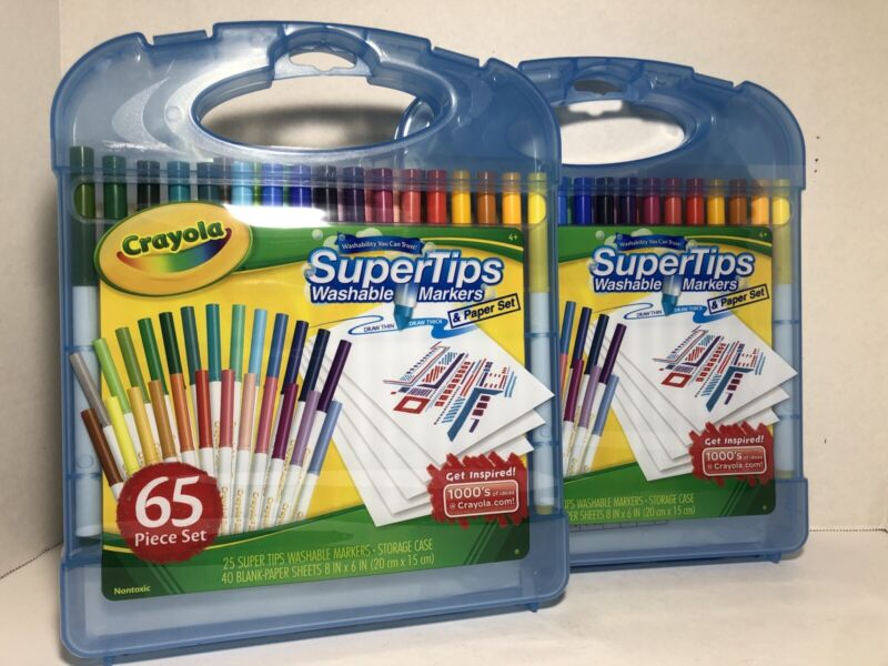 2 Crayola Super Tips Washable Markers and Paper Set, 65 Piece Art Kit 04-5226