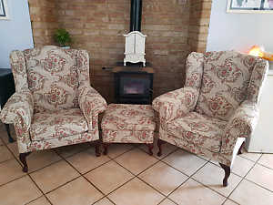 Queen Anne Beautifully Upholstered Wing Back  Arm Chairs $200ea Parmelia Kwinana Area Preview