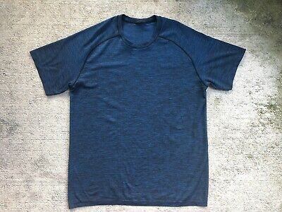 Lululemon Men's Metal Vent Large Blue Black Short Sleeve Shirt Crew Run Yoga
