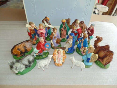 Vintage Paper Mache Christmas Nativity 18-Piece Set Hand Painted Italy Woolworth