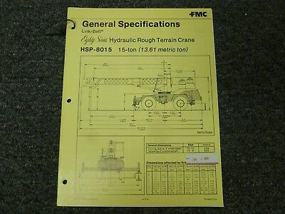 Link-belt Hsp-8015 Rough Terrain Crane Specifications Lifting Capacities Manual