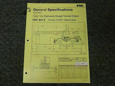Link-belt Hsp-8015 Rough Terrain Crane Specifications Lifting Capacities Manual