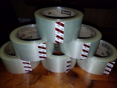 3m 371 Scotch 6 Rolls Clear Packaging Tape 2x110yd 48mmx100m Carton Sealing Box