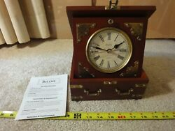 Bulova treasure chest clock. Executive desk, shelf, mantel clock. Wood, brass.