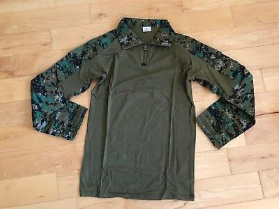 Woodland Marpat Combat Shirt LARGE USMC Marines 1/4 Zippered BDU Digital Camo