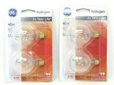 GE 82131 Halogen 40W Light Bulbs G16 1/2 Candelabra Base 415 Lumen (2) 2 (G16 1/2 Candelabra)