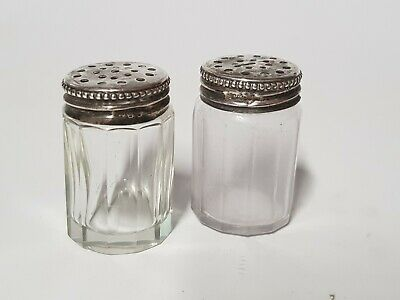 Silver Topped Miniature Salt And Pepper Shakers