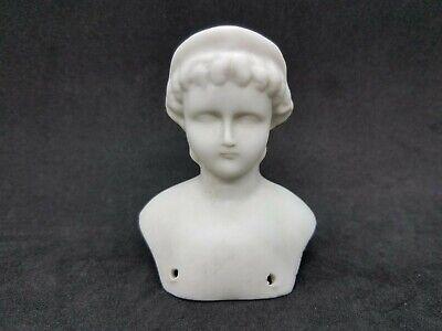 Vintage Porcelain Bisque Doll Parts Head Woman Bonnet Dangle Earrings