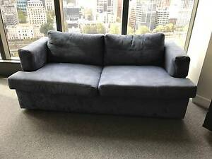 Moran Blue Macro Suede 2.5 Seater Double Sofa Bed Southbank Melbourne City Preview