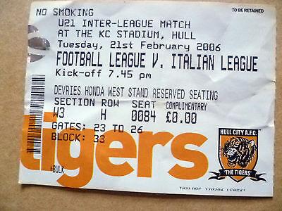 Ticket- FOOTBALL LEAGUE v ITALIAN LEAGUE, U-21 Inter League, 21 February 2006