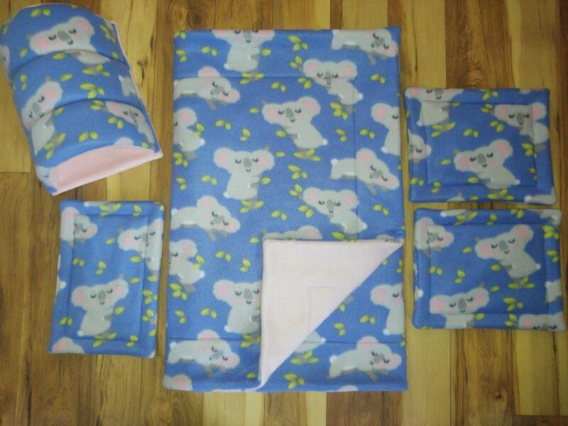 5 pc SET! Guinea pig/Pet fleece Cage Liner 2&4 C&C 3 layers pads & tunnel uhaul