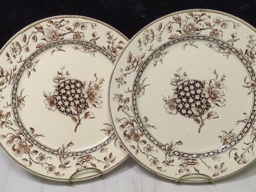2 Doulton Burslem Oxford Floral Brown Aesthetic Mvmt Transferware Dinner Plates