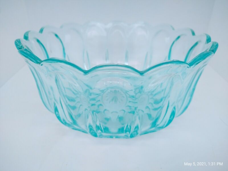 Blue Depression Glass Fruit / Salad Serving Bowl with Scalloped Edge