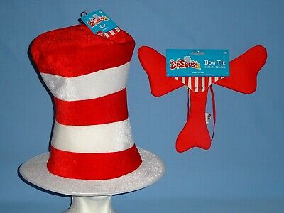 DR SEUSS CAT IN THE HAT COSTUME HAT-STOVE PIPE-BOW TIE-TEEN/ADULT ACCESSORIES