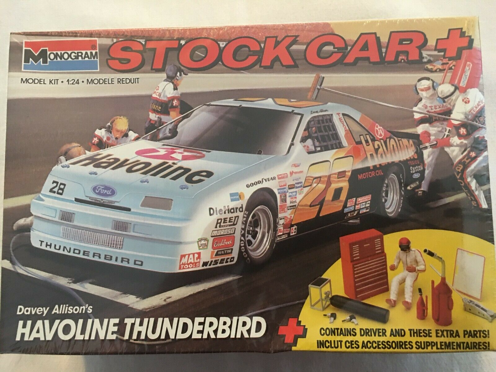 1990 Monogram 28 Davey Allison Havoline Thunderbird Stock Car Kit - $18.50