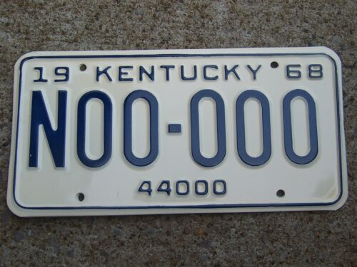 N00 000 = 1968 Kentucky Truck 44000 Sample License Plate