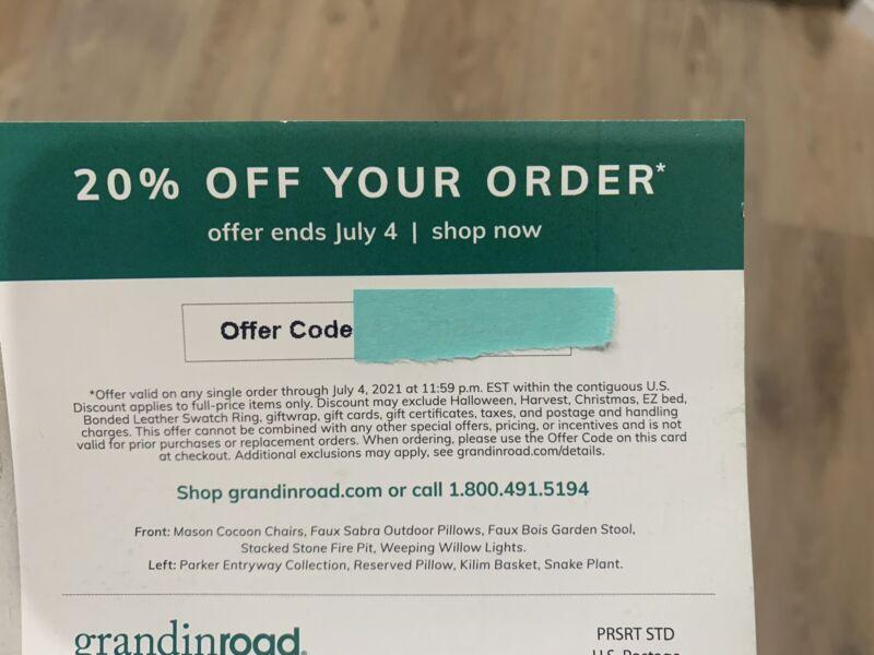 GRANDINROAD 20% off coupon--GREAT SAVINGS! (thru July 4th)