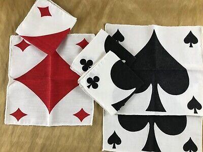 BRIDGE COCKTAIL NAPKINS - CARD Suits 100% Cotton 6 Spades and Diamonds Cotton Cocktail Napkins
