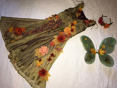 Woodland Elf Halloween Costume (FAIRY forest elf dress COSTUME size 8 cosplay wings UNIQUE fantasy)