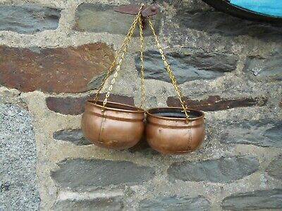 Vintage French  pair of Copper  hanging baskets/PLANTERS in untouched condition