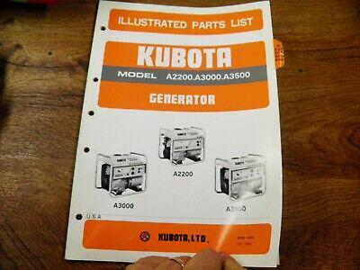 Kubota Generator A2200 A3000 A3500 Parts List