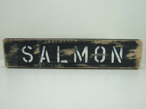 16 INCH WOOD HAND PAINTED SALMON SIGN NAUTICAL MARITIME SEAFOOD (#S738)