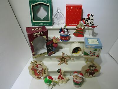 Lot of 12 Vintage 80s and 90s Christmas Decor Ornaments | Avon Hallmark - 80s Christmas Decorations