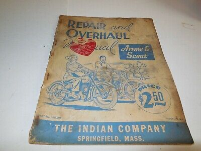 Vintage Repair & Overhaul Manual for INDIAN ARROW & SCOUT, #1,675.003 RARE!