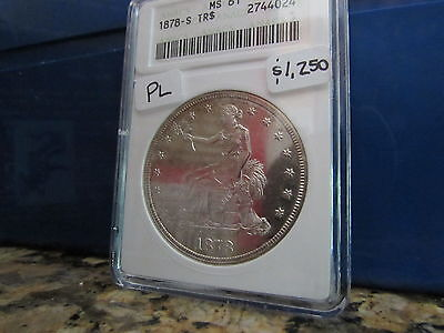 1878 S Trade Silver Dollar ANACS MS61 OGH Old White Holder Unc 61 PL Obverse $1