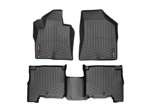 Black WeatherTech Custom Fit FloorLiner for Hyundai Santa Fe 1st /& 2nd Row