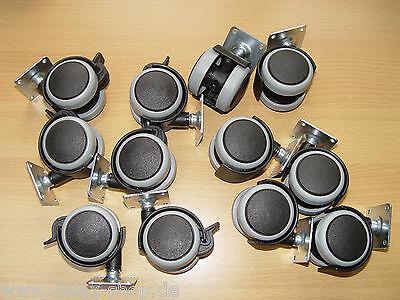 12-mal Möbelrolle Gummi grau 50 mm Hartbodenrolle mit ohne Bremse kleine Platte
