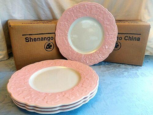 """4 Vintage Shenango China Dinner Plate 11.4"""" Atomic Pink Leaf Embossed New Old St"""