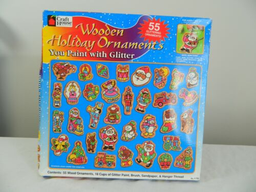 Craft House Wooden Holiday Ornaments Glitter Paint Kit Factory Sealed 41709 USA
