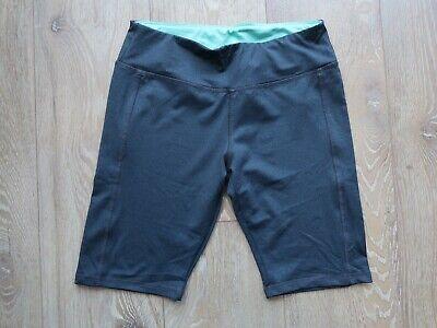 "NEW LULULEMON UK 8/10 Running Tight/Gym 9"" Shorts Dark Grey Marl/Turquoise"