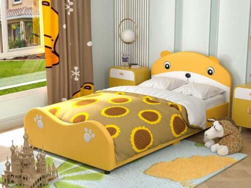 Children Toddler Cute Bear Bed Frame with Headboard Footboard, Twin, Yellow