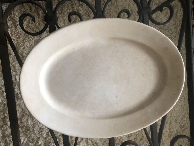 "Antique George Scott 1800's Large White Oval Ironstone Platter 16-1/2"" x 12"""
